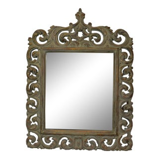 Italian Wood Carved Mirror For Sale
