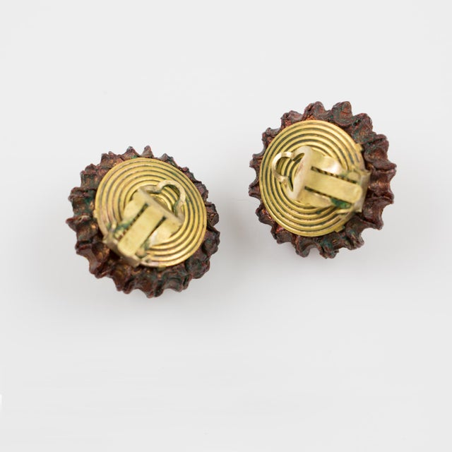 Francoise Montague Paris Clip on Earrings Brown Resin Talosel Brass Studs For Sale - Image 4 of 6