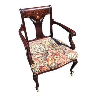 Victorian Inlaid Mahogany Desk Chair on Casters For Sale