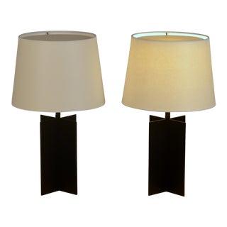Medium 'Croisillon' Matte Black Steel Table Lamps by Design Frères - a Pair Preview