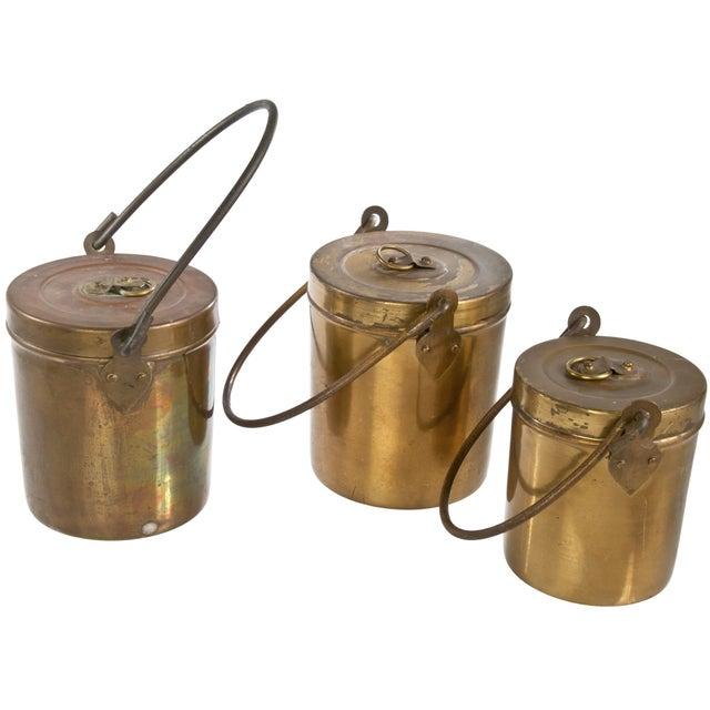 Vintage Copper Pails With Lids - Set of 3 - Image 2 of 3