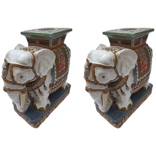 Pair of Chinese Ceramic White Elephant Outdoor Garden Stools For Sale