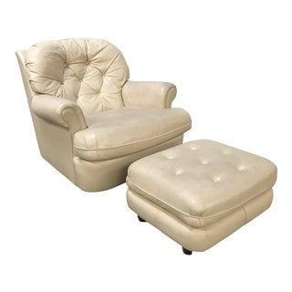 1990s Vintage Leather Chair & Ottoman - 2 Pieces For Sale