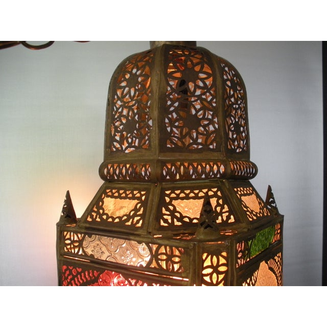 Moroccan Pierced Brass Hanging Lantern For Sale - Image 5 of 12
