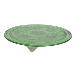 Jeannette Sunflower Style Green Depression Glass Three Footed Cake Plate For Sale