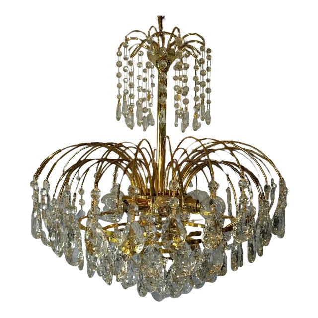 Mid-Century Crystal & Brass Plated Spider Chandelier - Image 1 of 11
