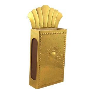 Vintage Danish Fireplace Brass Match Holder