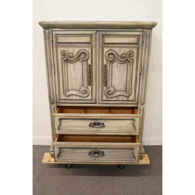 """Wood Stanley Furniture Italian Provincial Green Tint Finish 43"""" Door Chest / Armoire For Sale - Image 7 of 13"""