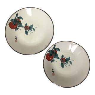 Asian Chinoiserie Silver Rim Ceramic Serving Bowls - a Pair For Sale