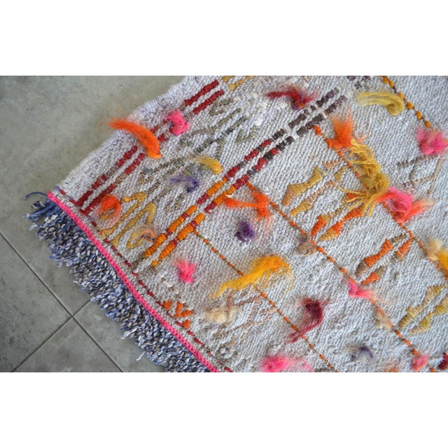 "Pink Antique Anatolian Braided Rug Hand Woven Cotton Small Rug Sofreh - 4' X 4'3"" For Sale - Image 8 of 10"