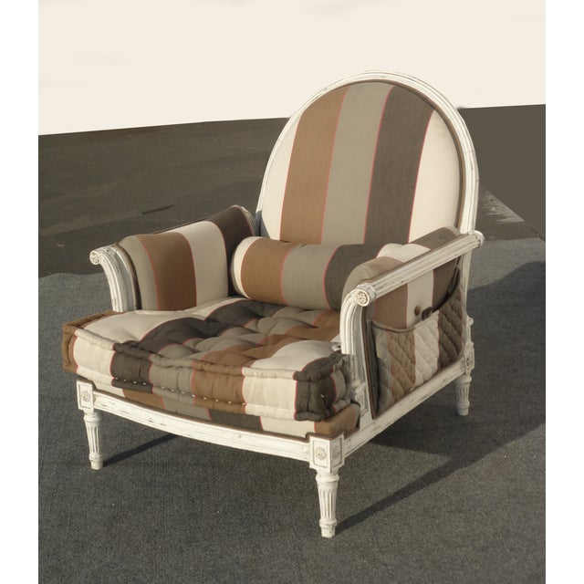 French Provincial Striped Upholstery Arm Chair - Image 3 of 11