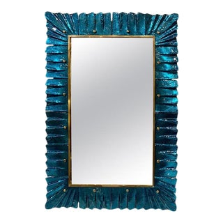 Early 21st Century Modern Teal Colored Murano Glass Mirror