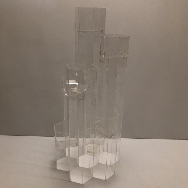 Mid Century Van Horn Hayward Lucite Skyscraper Sculptural Candleholder For Sale - Image 9 of 9