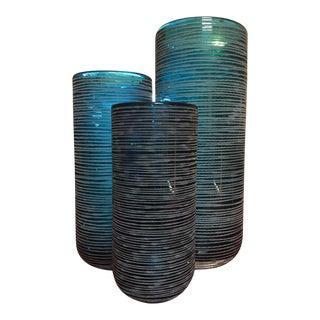 Etched Aqua Blue Vases - Set of 3
