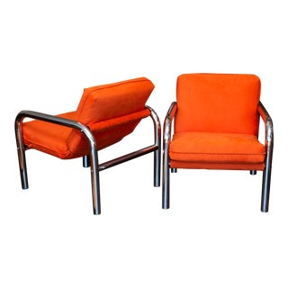 Pair of 1970s Era Tubular Chrome Sling Chairs For Sale