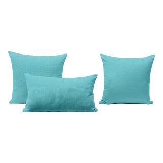 Sky Blue Outdoor Throw Pillows - Set of 3 For Sale
