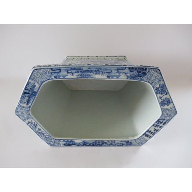 Chinoiserie Blue & White Hexagonal Jardiniere For Sale - Image 10 of 13
