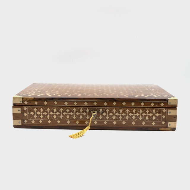 Anglo Indian Teak Box With Brass Inlay, India, Circa 1860 For Sale - Image 4 of 11