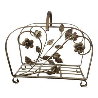 Hollywood Regency Brass Floral Magazine Rack For Sale