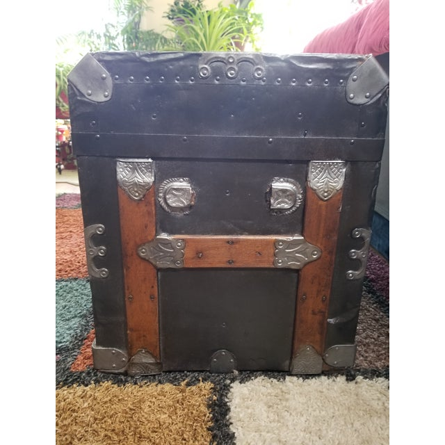 Antique Beveled Top, Wood Slatted Metal Trunk - Image 6 of 8