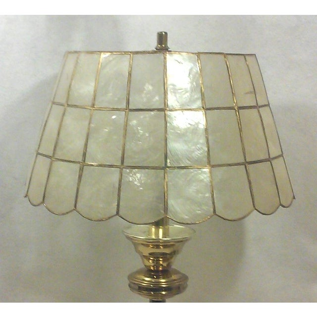 Hollywood Regency Brass Table Lamp with Capiz Shell Shade For Sale - Image 3 of 5