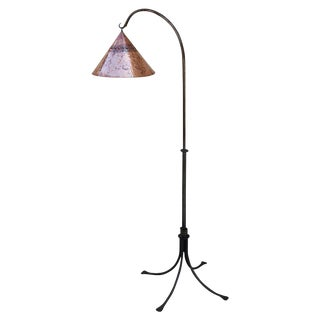 Patinated Iron Floor Lamp with Copper Shade