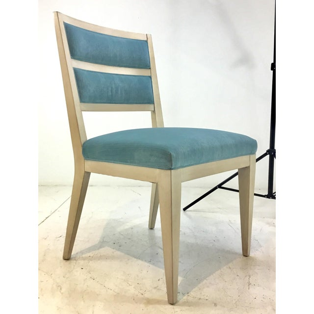 Original Retail $8600, elegant Hickory White Modern Turquoise Velvet Greek Key Dining Chairs Set of Four, two arms and two...