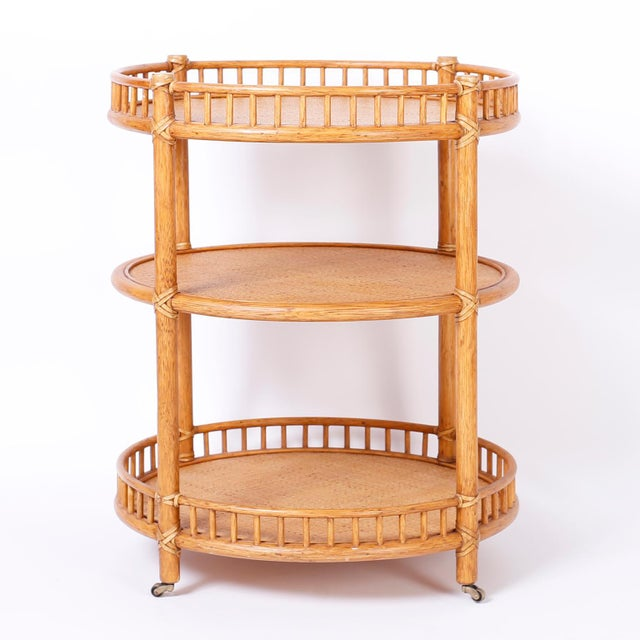 Tan Midcentury British Colonial Style Stands or Carts - A Pair For Sale - Image 8 of 10