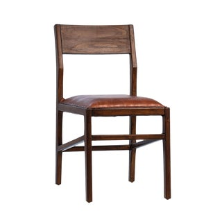 Brown Teak & Leather Dining Chair For Sale