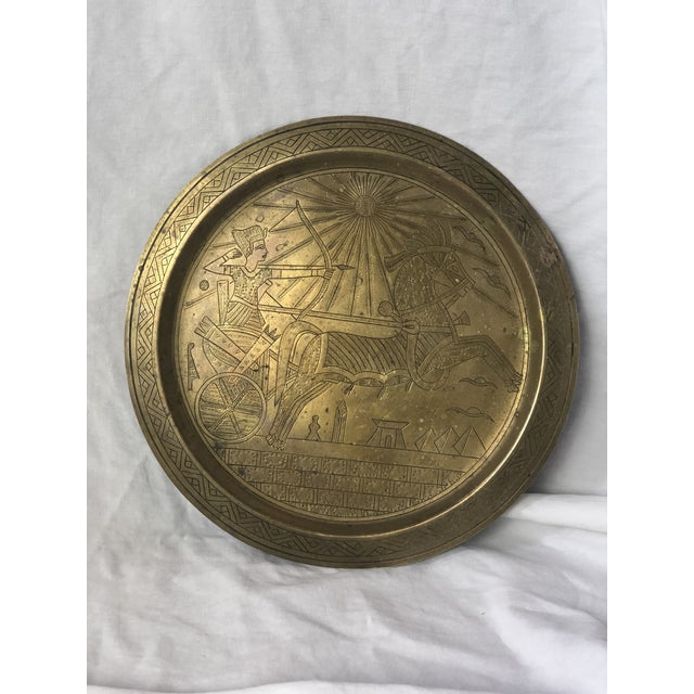 Gold 20th Century Egyptian Brass Etched Plate For Sale - Image 8 of 8