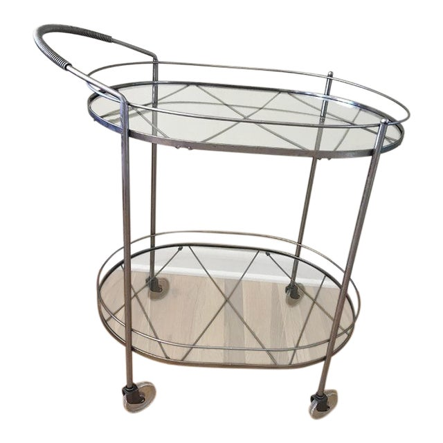 Mid Century Vintage Two-Tier Oval Rolling Bar Cart For Sale