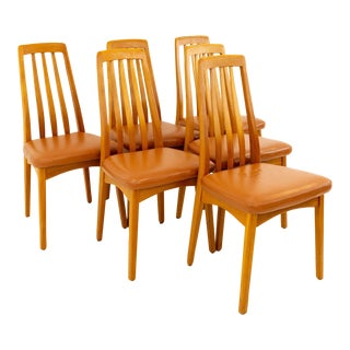 Vintage Mid Century Niels Koefoeds Hornslet Eva StyleTeak Dining Chairs- Set of 6 For Sale