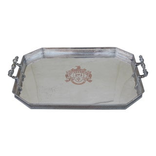 """Dum Spero Spiro"" Silver Tray - British - Antique"