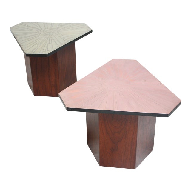 Pair of Italian Etched Copper and Brass Side Tables by G. Urso - Image 1 of 11