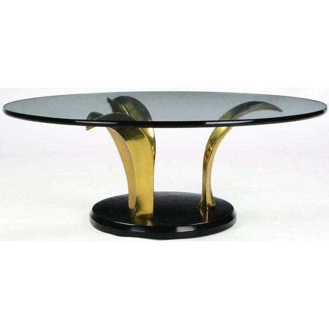 1970s Black Lacquer & Brass Palm Leaf Cocktail Table For Sale - Image 5 of 8