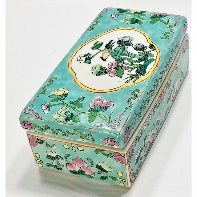 Vintage Light Blue Chinese Famille Rose Porcelain Box With Flowers and Phoenix - Asian Oriental Palm Beach Boho Chic Mid Century For Sale - Image 4 of 12