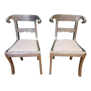 Anglo-Indian Rams Head Silver Repoussé Chairs - a Pair For Sale
