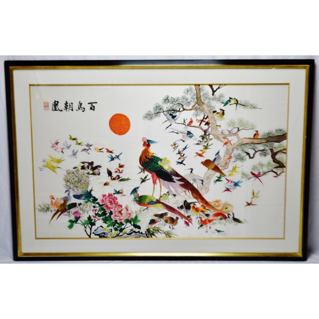 Vintage Framed 100 Birds Adore the Phoenix Chinese Silk Embroidery For Sale - Image 13 of 13