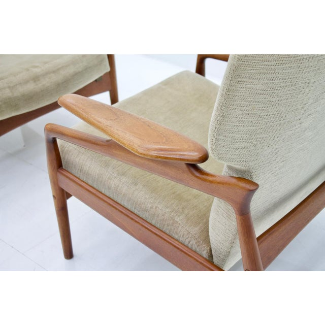 Pair of Reclining Teak Lounge Chairs by John Boné, Denmark 1960s For Sale - Image 9 of 11