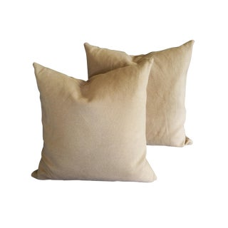 Pottery Barn Tan Throw Pillows With Removable Woven Fabric Covers - a Pair For Sale