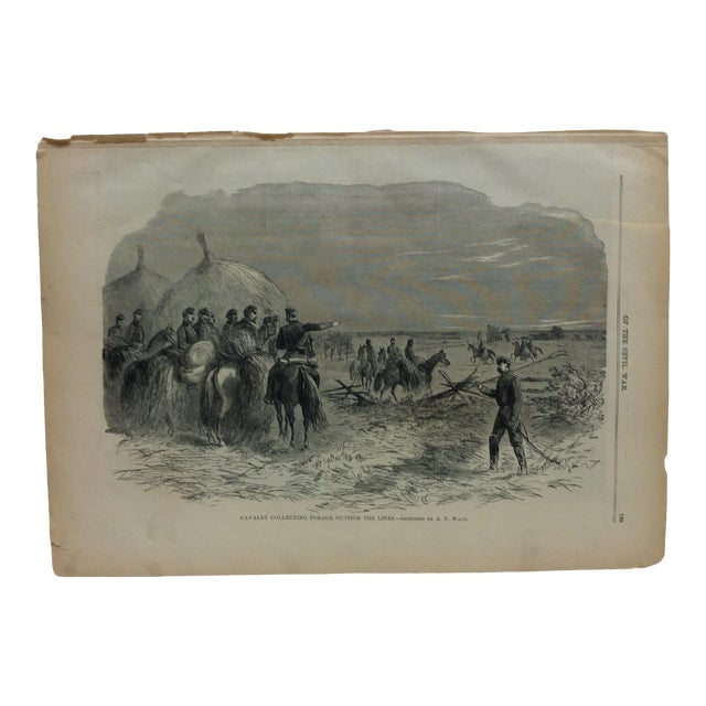 "1870s Antique ""Cavalry Collecting Forage Outside the Lines"" Pictorial Battles of the Civil War Print For Sale"