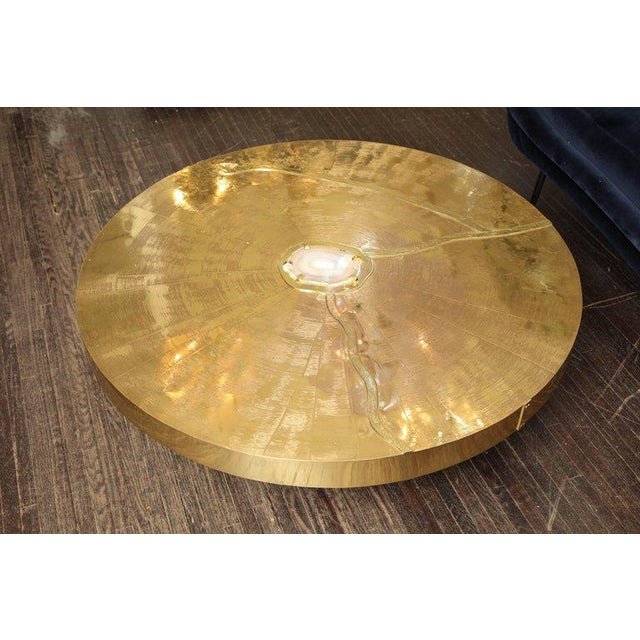 Spectacular Round Etched Brass and Agate Cocktail Table For Sale - Image 10 of 10