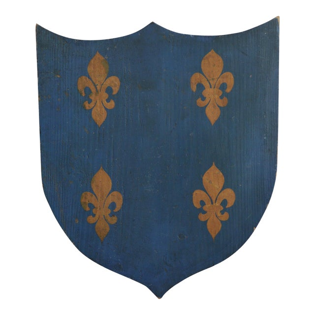 Vintage French Painted Family Shield For Sale