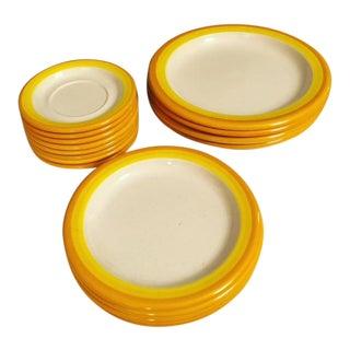 1970s Mid-Century Modern Yellow-Edged Ceramic Plates - Set of 16