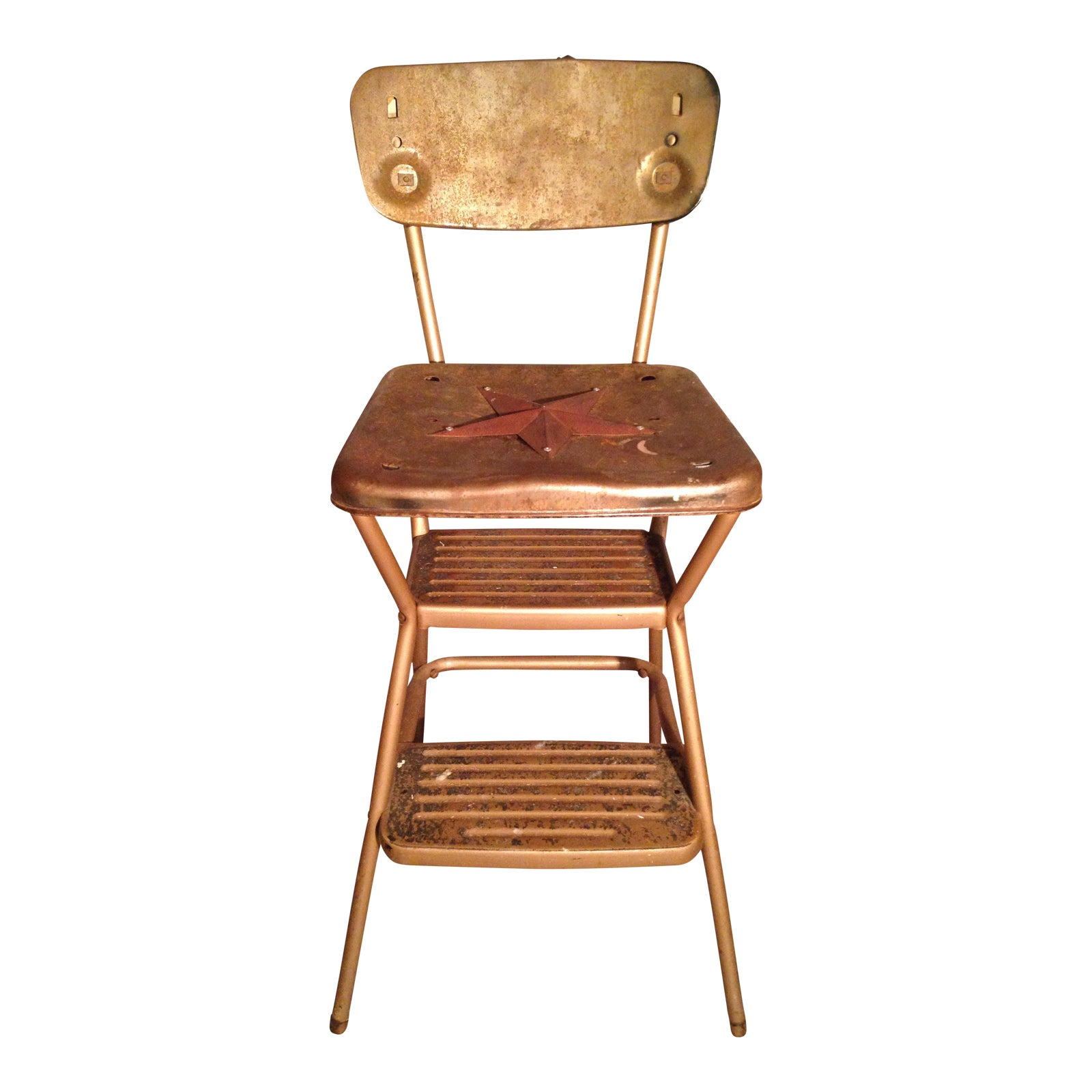 Rustic Primitive Country Kitchen Metal Star Step Stool