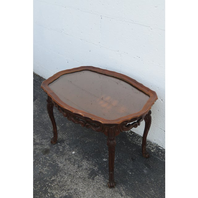 French Early 1900s Hand Carved Coffee Table With Serving Glass Tray 2357 For Sale - Image 9 of 11