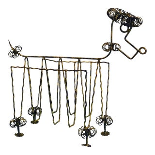 1950s Mid Century Gilt Iron Poodle Magazine Rack in the Manner of Frederick Weinberg For Sale