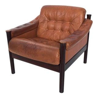 Torbjørn Afdal for Bruksbo Danish Leather Padded Arm Chair Lounge For Sale