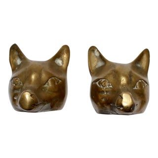 1950s Brass Fox Bookends - a Pair For Sale