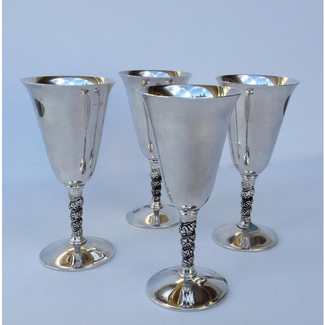 """Glass Vintage Silver Plate Spanish """"Valerio"""" Drinks Server Ware- Set of 12 For Sale - Image 7 of 11"""